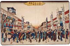 歌舞伎小屋が描かれている 東都名所 芝居町繁栄之図(広重)